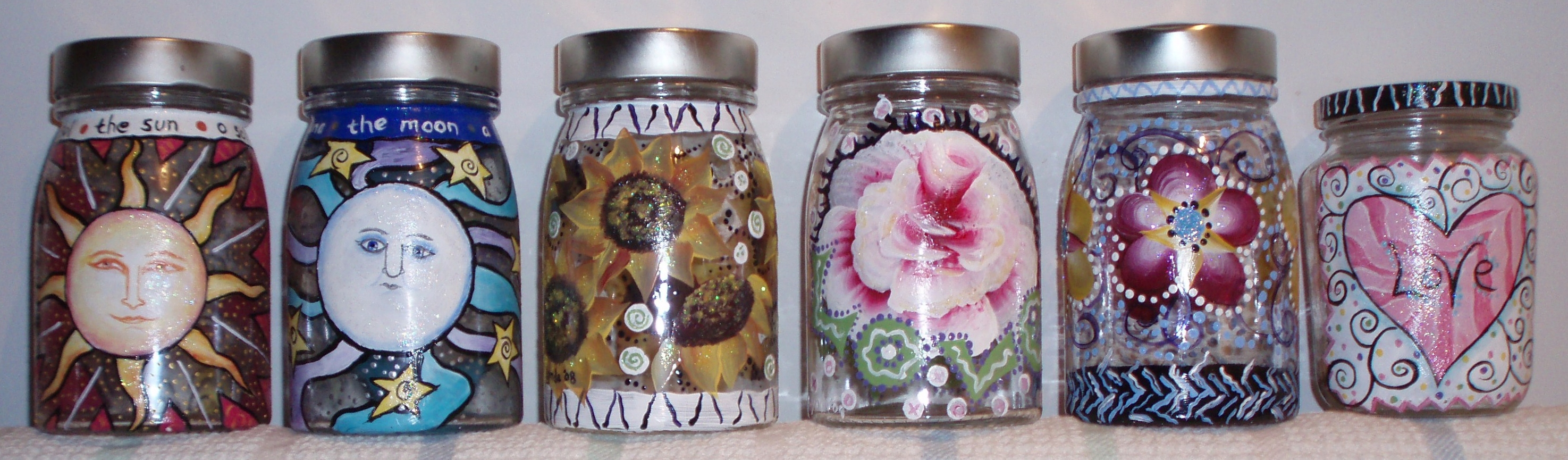 Tea canisters made from recycled glass jars with one stroke painting