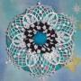 blue and white yo yo flower pin