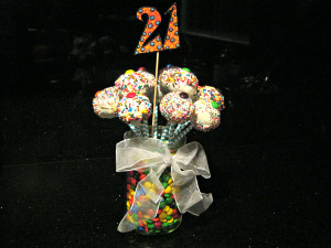 colorful brownie pops bouquet