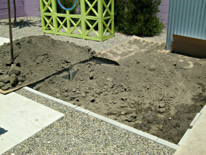 covering underground gopher fence with dirt in vegetable garden