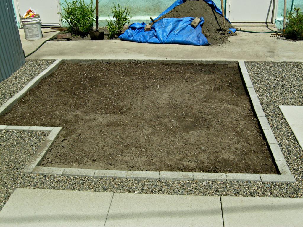 Vegetable garden after installing gopher barrier