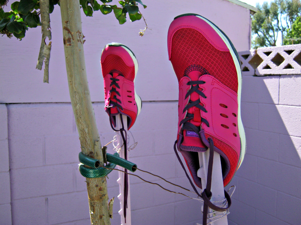 Drying shoes outside