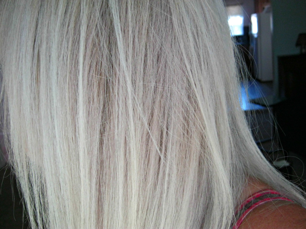 Side view after bleaching and toning with Oway