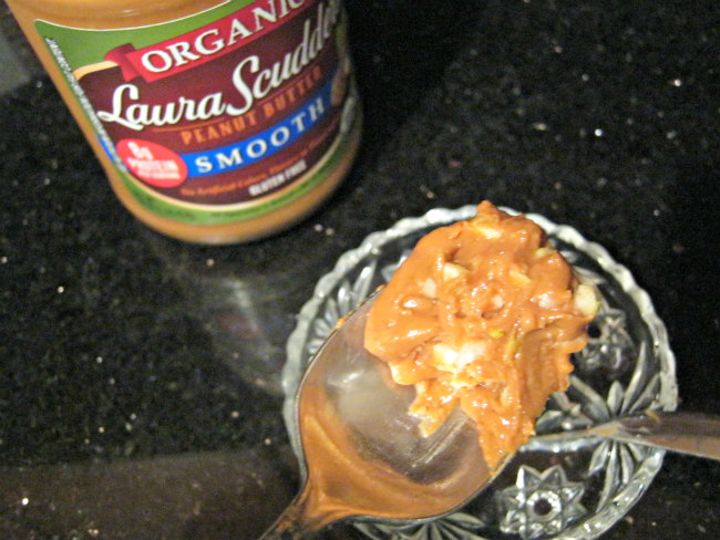Fresh garlic mixed with peanut butter