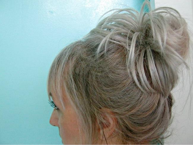 Blonde messy bun with Vanessa Grey hair